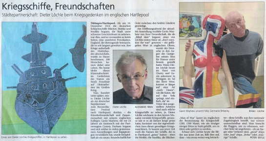 Peter Ertle/Schwaebisches Tagblatt vom 28.08.2014: Kriegsschiffe, Freundschaften.